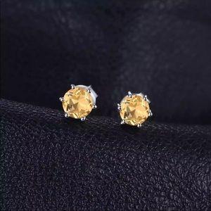 Genuine 0.9 Ct Citrine Sterling Silver Earrings